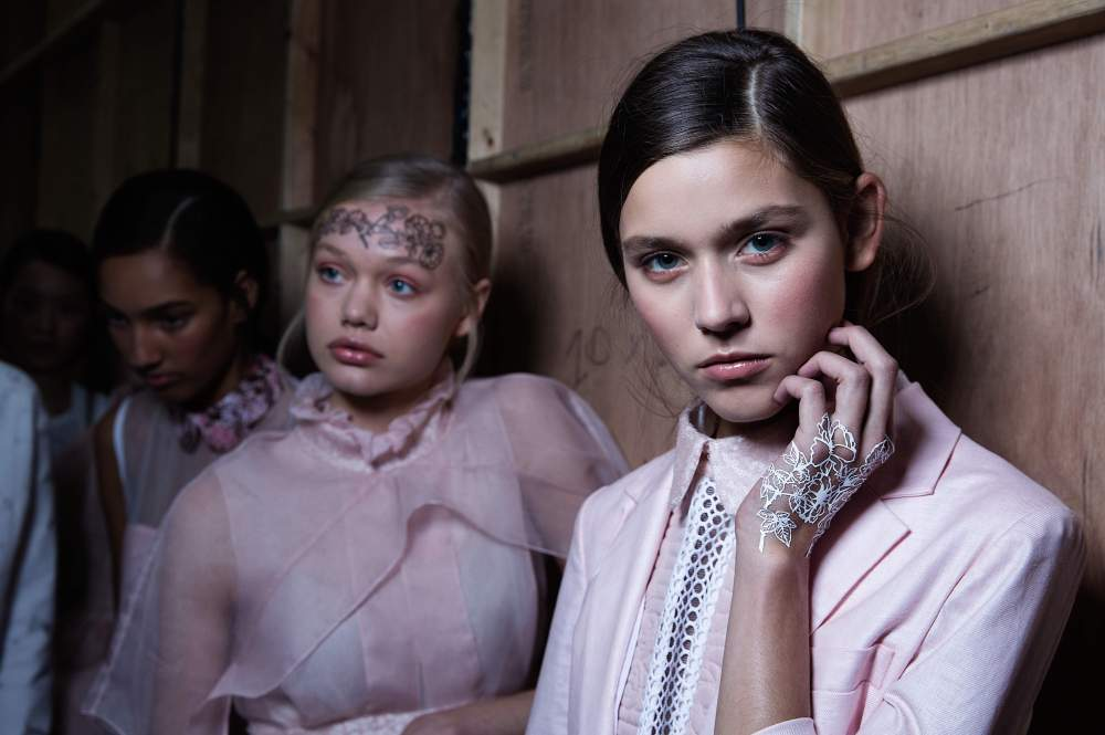Backstage at Bora Asku on Day 1 of London Fashion Week in Brewer St car park in Soho in London. Photos Ki Price