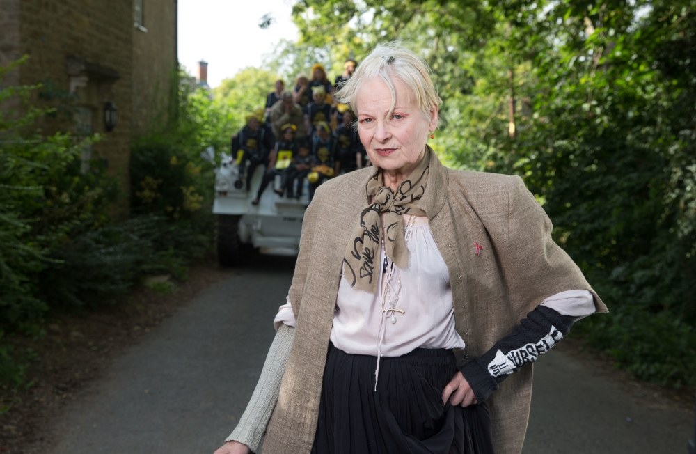Dame Vivienne Westwood outside PM David Cameron's house in Oxfordshire All photos Ki Price